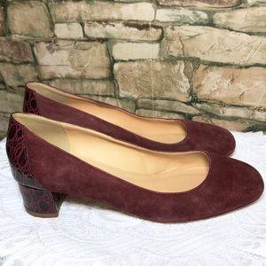 J. Crew Red Block Women 8 Heel Croc Suede Leather